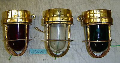 Rare Marine Brass Ship Passage Light Set Of 3 With Us Wiring