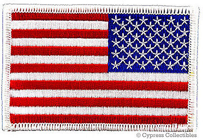 AMERICAN FLAG EMBROIDERED PATCH iron-on WHITE BORDER US LEFT FACING uniform NEW