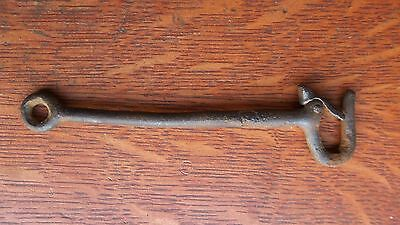 Antique Iron Long Hand Wrought Eye Hook with Self-Closing Latch c1885