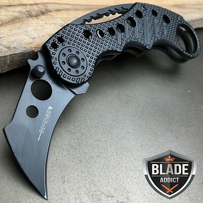 "5.5"" BLACK KARAMBIT TACTICAL COMBAT SPRING ASSISTED MILITARY Open Pocket Knife"