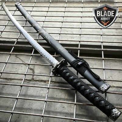 Japanese Samurai Sword KATANA Steel Ninja Blade BLACK Dragon Tang Wood New