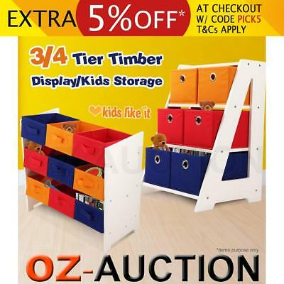 Multi-Drawer Timber Kids Children Toy Organiser Storage Rack Wooden Shelf Disply