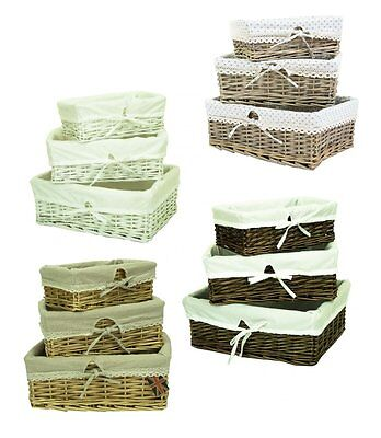 e2e Set of 3 Wicker Shallow Storage Shop Display Basket Box with Cotton Liner