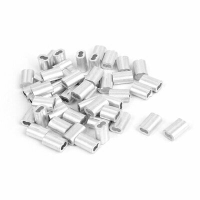 "Aluminum Sleeves 1/16"" Wire Rope Clamp Swage Clip Silver Tone 50 Pcs"