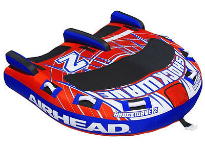 Airhead Shockwave 2 Double Rider Inflatable Boat Lake Towable Tube | AHSH-2