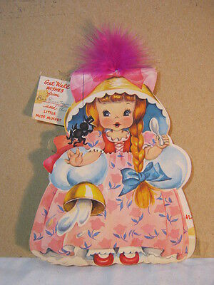 Little Miss Muffet Vintage Forget me Not Doll Get Well Card Novelty  T*