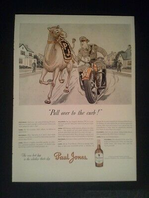 1944 Paul Jones Dry Whiskey Camel Police Policeman Motocycle Ad
