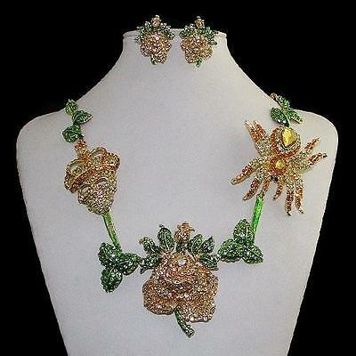 Spectacular Rose/Spider/Skeleton 2PC set w/SWARVOSKI Crystals/Gorgeous