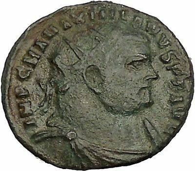 MAXIMIAN  receiving Victory from Jupiter 296AD Ancient Roman Coin i53946