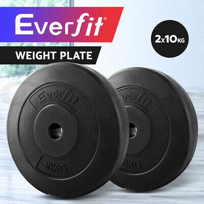 Everfit 2X 10KG Barbell Weight Plate Standard Home Gym Press Fitness Exercise