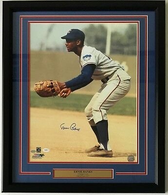 Ernie Banks Signed Framed Chicago Cubs 16x20 Photo JSA + Banks Holo