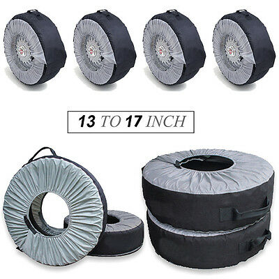 "Set of 4 Tyre Wheel Cover Storage Bag Spare Tyre Cover 13"" To 17"" Winter Snowing"