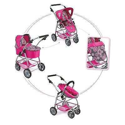 Bayer Chic 2000 3 in 1 Kombi-Puppenwagen Emotion All In Hot Pink Pearls NEU