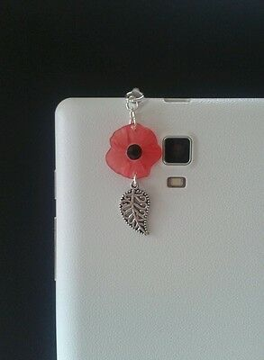 Poppy Dangle Charm For Mobile Phone. Tablet. Iphone. Dust Plug.