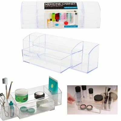 Bathroom Medicine Cabinet Organizer 5 Compartments Clear Drawer Makeup Storage