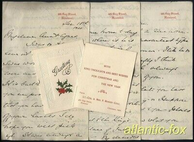 1901 CANADA Lt-COL & Mrs F.MINDEN COLE Letter + XMAS card to her Aunt Agnes  UK