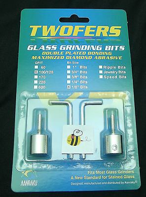 "Grinder Bit Diamond 1/8"" Twofers 2 Pack Stained Glass Fits MOST Inland Glastar"