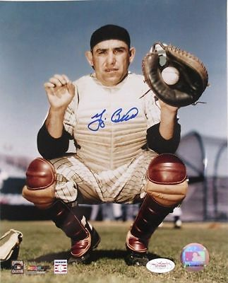 Yogi Berra Signed New York Yankees Catching Pose 8x10 Photograph JSA