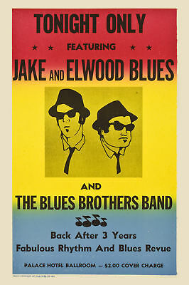 The Blues Brothers Concert Prop Poster  Circa 1980 Large Format 24x36