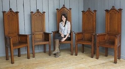 Set of 5 Reclaimed Oak Carved Altar Church Chairs - Antique Chapel Dining
