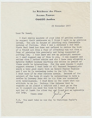 GRAHAM GREENE, Typed Letter Signed, about reviewing his book, Antibes 1977