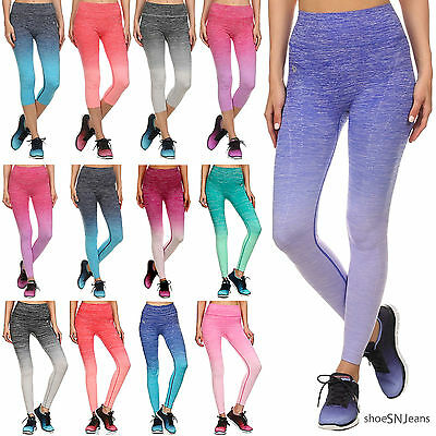 NEW Athletic Ombre Long & Capri Leggings Yoga Pants for Gym Fitness Workoout