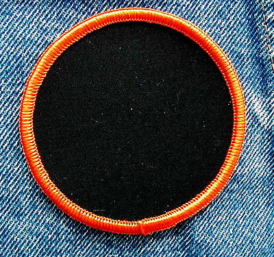 "3"" Round Blank Black Patch With Orange Border"