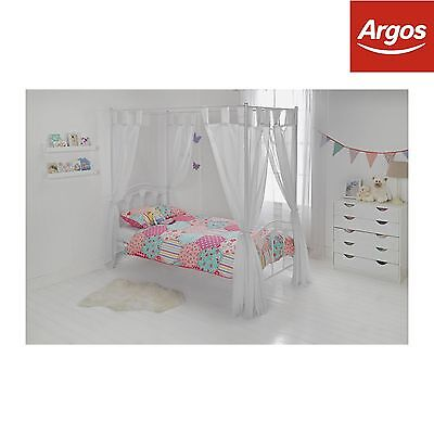 HOME Hearts Single Four Poster Bed Frame - White.