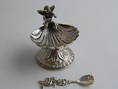 Silver Shell & Putti Decorated Salt Cellar Complete With Matching Spoon