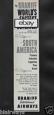 "Braniff International 1960 ""Boeing 707-227"" Fastest Jetliner To South America Ad"