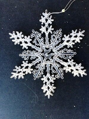 8'' Shiny Glitter Snowflake Hanging Ornament Decoration White Clear Plastic