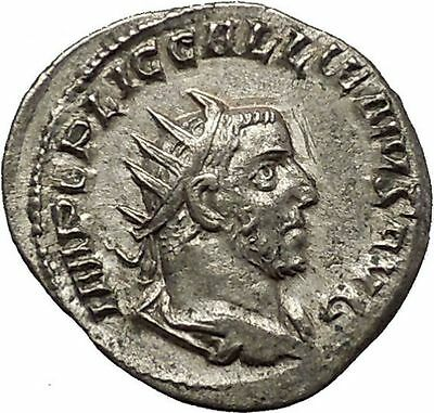 Gallienus 253AD Silver Rare  Ancient Roman Coin Pax Peace Cult   i54143