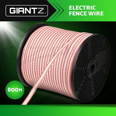 Giantz Polytape 800m Roll Electric Fence Energiser Stainless Steel Poly Tape