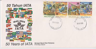 (FDC95018) MALAYSIA 1995 50 Years of IATA First Day Cover FDC