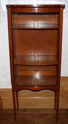 Beautiful pair antique decorative Edwardian satinwood display cabinets shelves