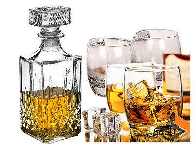 4 x 200ML GLASS WHISKEY WINE TUMBLERS & SQUARE GLASS DECANTER BOTTLE GIFT SET