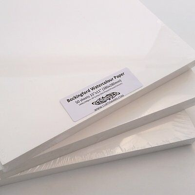 "Bockingford Artists WaterColour Paper 15""x11""(38x28cm)50 Sheets HOT PRESSED 300g"