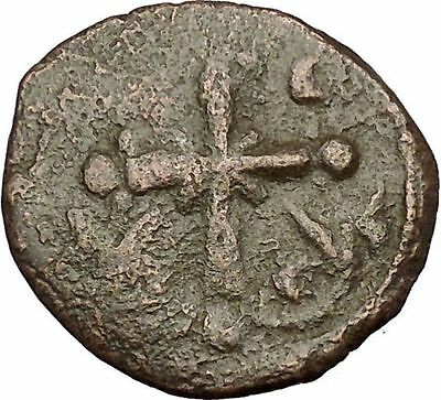 JESUS CHRIST Class I Anonymous Ancient 1078AD Byzantine Follis Coin CROSS i54225
