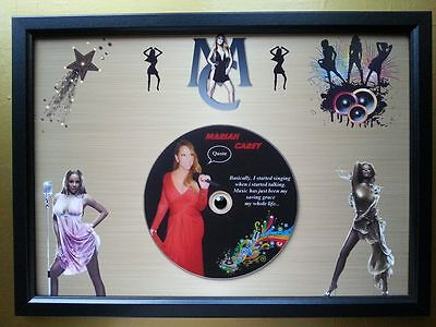 MARIAH CAREY Memorabilia CD Quote frame on a gold background with Rhinestone,New