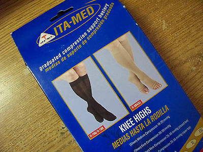 Ita-Med Compression Knee Highs 2pk U CHOOSE SIZE BEIGE (23-30 mmHg)