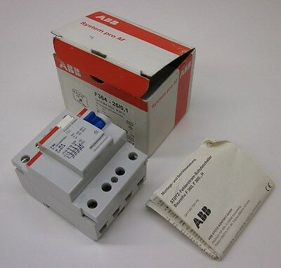 ABB RCCB Earth-Leakage Circuit Breaker, 4 Pole, 25A/100mA 230/400V F364-25/0.1