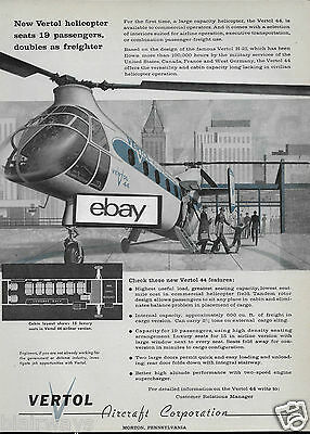 Vertol Aircraft Corp V-44 1957 19 Seat Passenger Helicopter Ad