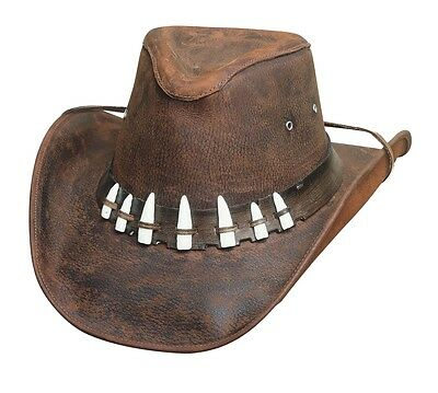 Crocodile Dundee! Bullhide Leather Brown Hat With 7 Imitation Gator Teeth SPIFFY