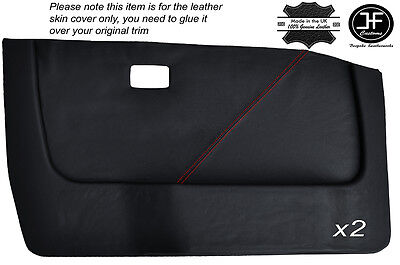 Red Stitching 2X Front Door Card Leather Covers Fits Bmw 5 Series E28 81-87