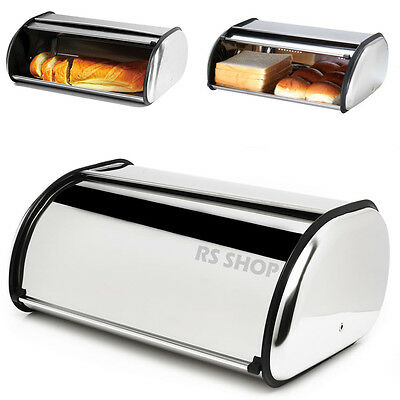 Large Roll Over Loaf Bread Bin Kitchen Food Storage Box Stainless Steel New