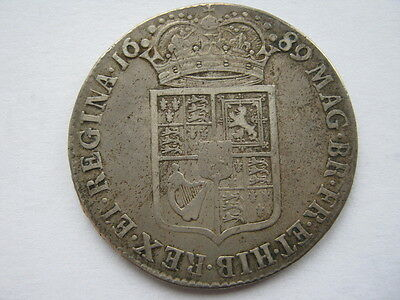 1689 William and Mary Half Crown, NVF. ESC 510.