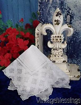 "Lovely Vintage Drawnthread Lace Bridal Handkerchief 10"" x 10"""