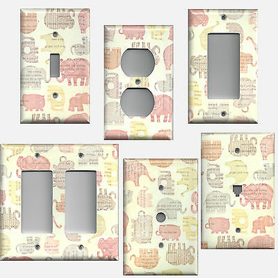 Baby Girls Elephants Nursery Decor Light Switch Covers & Outlet Covers