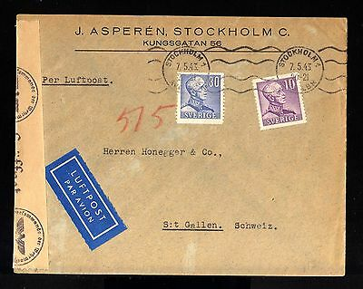 8099-SWEDEN-MILITARY NAZI CENSOR COVER STOCKHOLM  to ST.GALLEN (suisse)1943.WWII