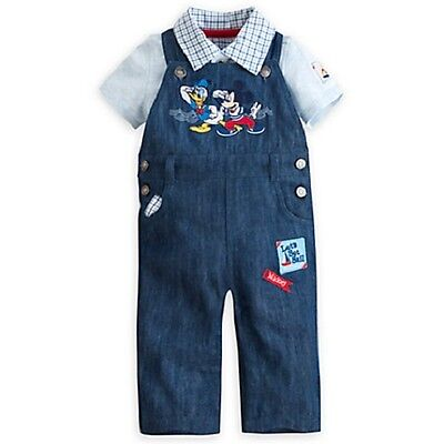 Disney Store Mickey & Donald Cute 2 Pc Dungaree Set For Baby Nwt ~ Very Nice!!